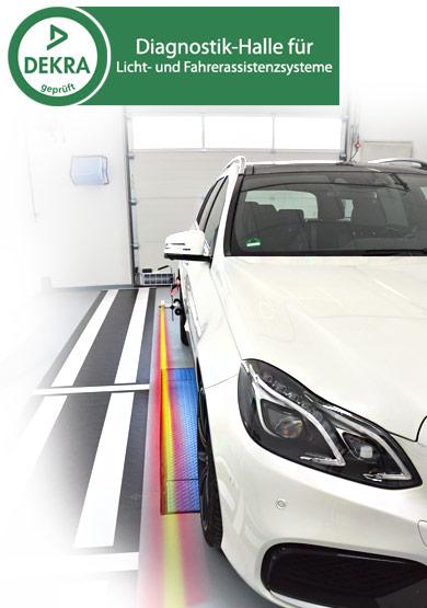 DEKRA geprüft - Diagnostik-Halle für Licht- und Fahrerassistenzsysteme