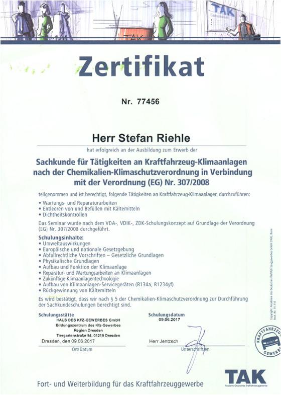 Autolackiererei Lackwerk Zertifikat Sachkundenachweis