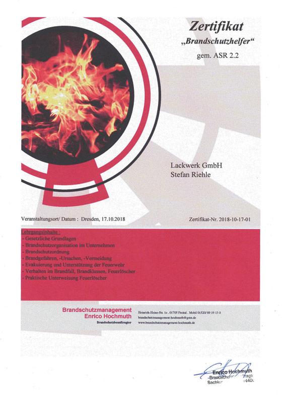 Zertifikat Brandschutz Lackwerk LW GmbH