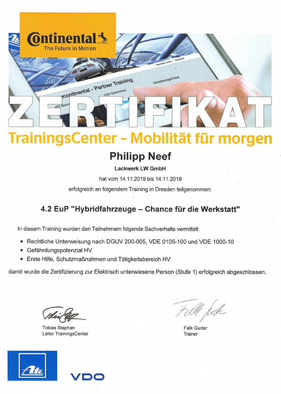 Zertifikat Hybridfahrzeuge Lackwerk LW GmbH